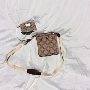 Coach mini crossbody bag with matching wallet.